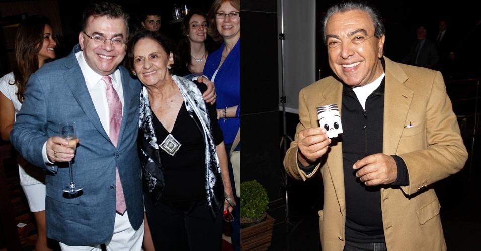 A atriz Laura Cardoso e o quadrinista Mauricio de Sousa (dir.) prestigiaram a abertura da Biblioteca Walcyr Carrasco, no teatro Reinassence, em São Paulo (17/10/12)