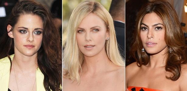 Kristen Stewart, Charlize Theron e Eva Mendes exibem mechas com as cores da temporada - Getty Images
