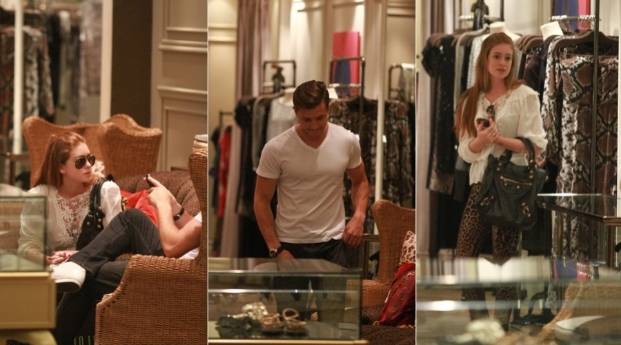 Marina Ruy Barbosa e Klebber Toledo fizeram compras em um shopping da zona oeste do Rio (17/10/12). Os atores namoram há 1 ano e três meses