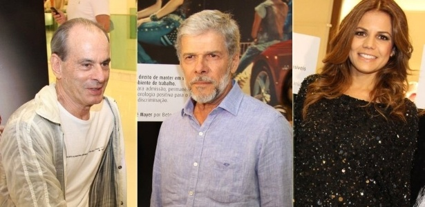 Ney Matogrosso, José Mayer e Nívea Stelmann no coquetel de lançamento do