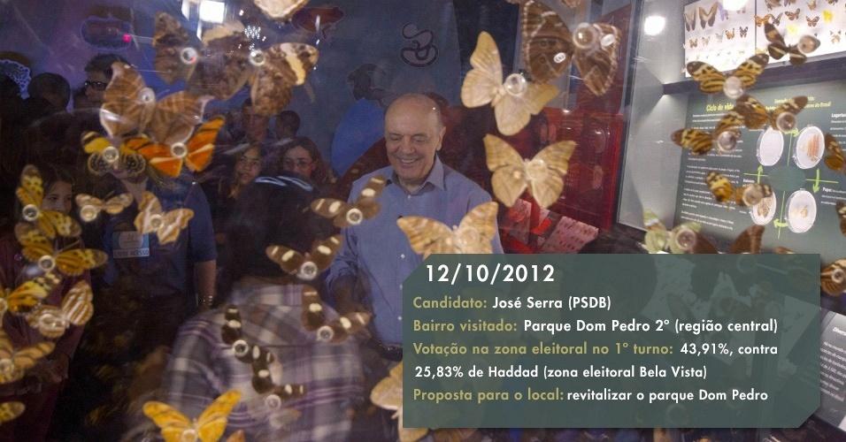 12.10.2012 - Após visita ao Museu Catavento, Serra prometeu revitalizar o parque Dom Pedro e abrir mais três museus na cidade: o da Moda e do Vestuário, o do Automóvel e o da Canção Brasileira