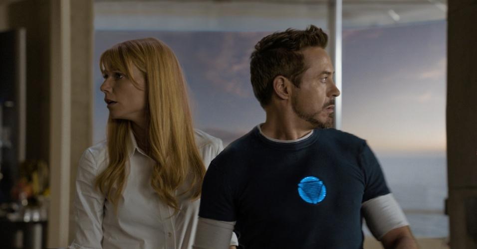 Gwyneth Paltrow e Robert Downey Jr. em cena de