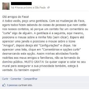 """""""Dica"""" dada em viral que circula no Facebook faz apenas você parar de receber atualizações do amigo"""