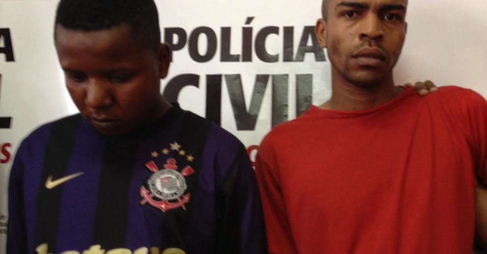 25.out.2012 - A Polícia Civil mineira apresentou nesta quinta-feira (25), em Belo Horizonte, dois suspeitos pela morte da atriz Cecília Bizzotto, 32, assassinada dentro de casa na madrugada do último dia 7 de outubro