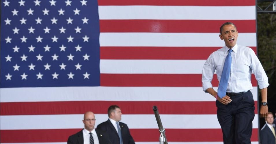 25.out.2012 - O presidente dos Estados Unidos e candidato à reeleição, Barack Obama, participa de evento de campanha no Doolittle Park, em Las Vegas, Nevada (EUA)
