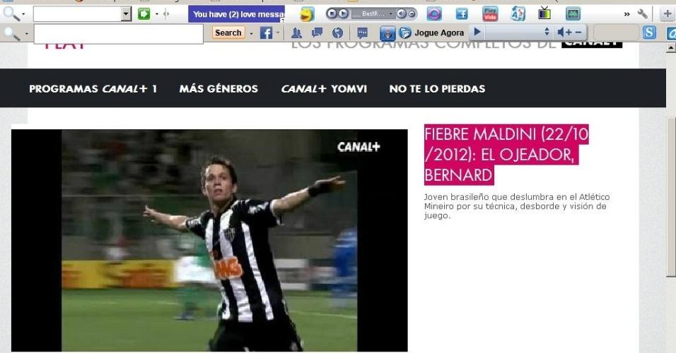 Jovem meia-atacante Bernard é personagem de matéria do Canal + da Espanha
