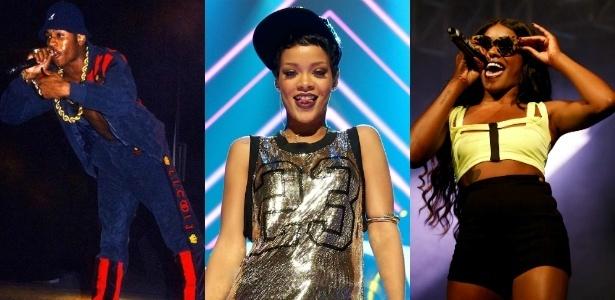 """LL Cool J nos anos 1980, Rihanna e Azealia Banks, da esquerda para a direita mostram a evolução do estilo no hip hop - Ernie Panicioli/""""Free Stylin"""""""" / Getty Images"""