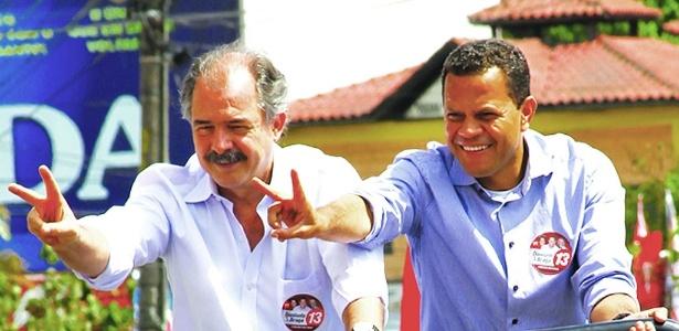 Donisete Braga (à direita) teve apoio do ministro Aloizio Mercadante durante a campanha