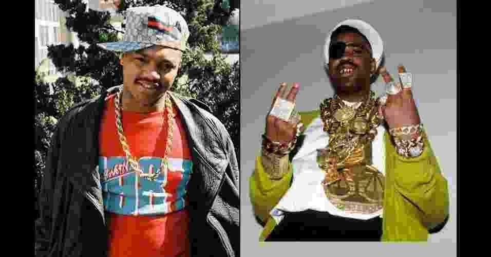 """O VISUAL DO HIP HOP: Na década de 1980, garoto do Brooklyn, em Nova York, usa boné Gucci - uma das marcas que nada tinha a ver com o rap, mas fez muito sucesso neste universo. À direita, Slick Rick mostra visual clássico """"bling"""", cheio de correntes, pulseiras e anéis dourados - Jamel Shabazz e Ernie Panicioli / """"Free Stylin'"""""""