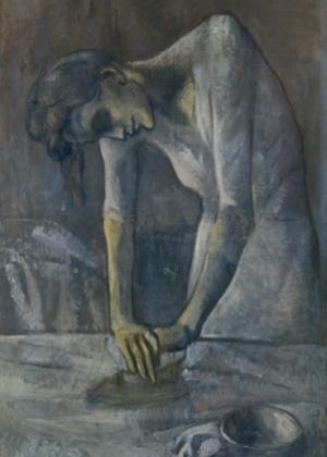 """Obra """"Mulher Passando Roupa"""" de Pablo Picasso, pintada em 1904 - Reprodução/Museus Guggenheim"""
