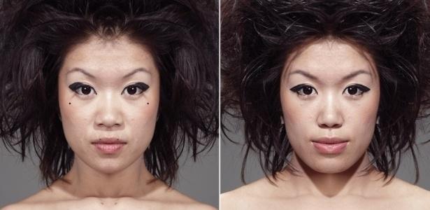 Fotógrafo australiano resolveu espelhar rostos para revelar a verdadeira simetria - Julian Wolkenstein / via BBC