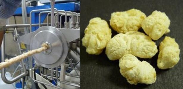 """Máquina """"recicla"""" bagaço de cana e produz farinha para salgadinhos nutritivos; à direita, biscoito feito com farinha de arroz e casca de maracujá"""