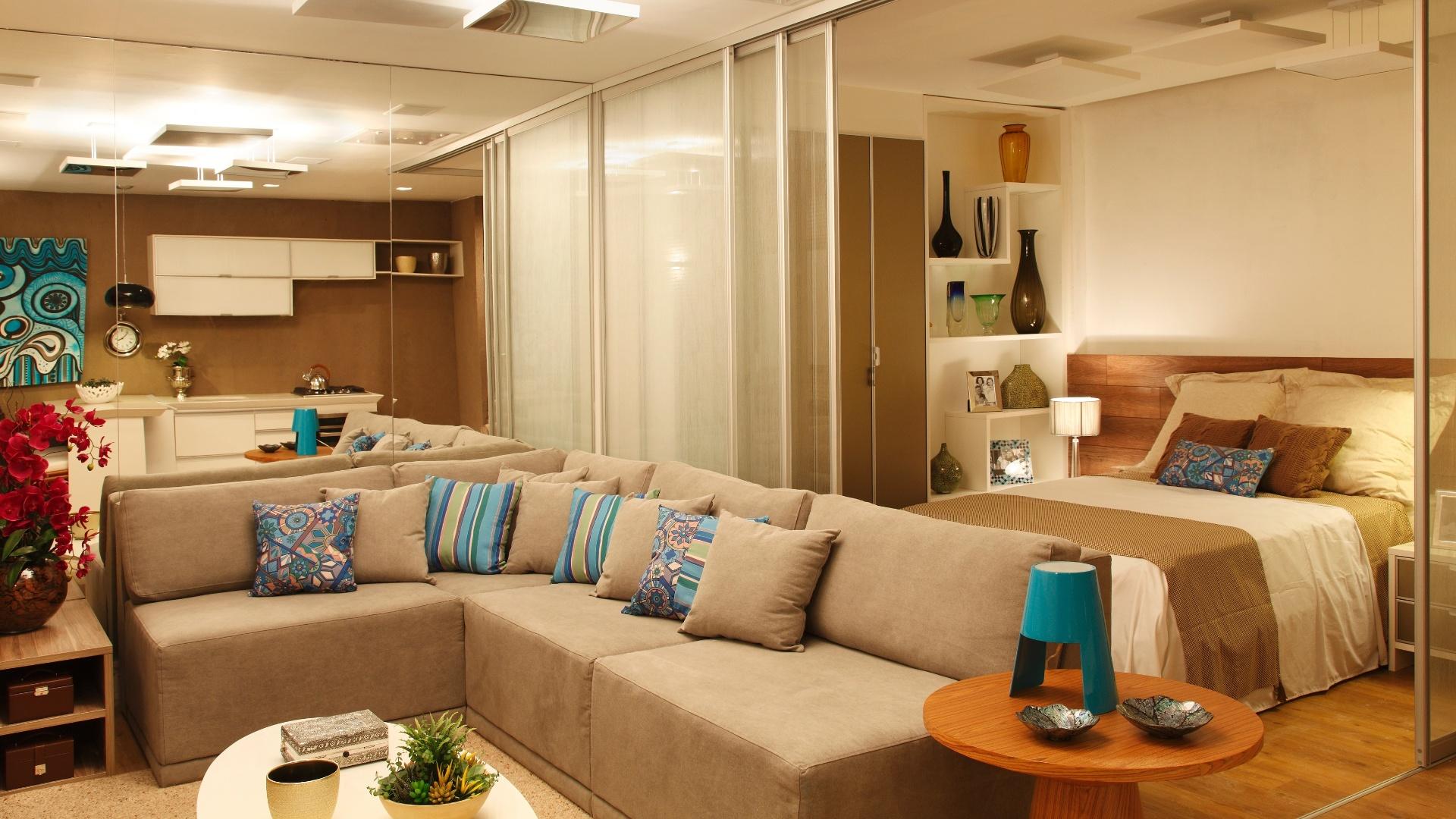 Sala e quarto do Estúdio Sustentável criado por Danielle Sabino. A mostra Morar Mais por Menos RJ segue até dia 4 de novembro de 2012, na Av. Epitácio Pessoa, 4.866, Rio de Janeiro