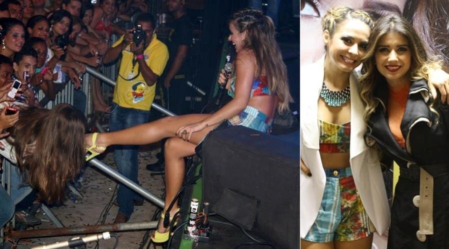 Fã beija pé de Alinne Rosa durante show (26/10/2012)