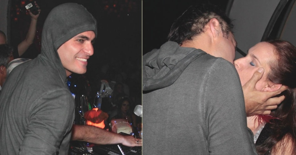 Thiago Lacerda ataca de DJ e beija a mulher na edição de primavera do Bailinho, no Moinho Santo Antônio da Mooca, São Paulo (26/10/12)