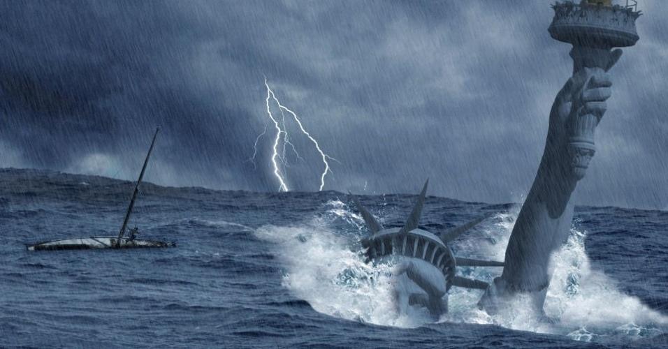Aqui, a Estátua da Liberdade aparece quase que completamente submersa. Uma rápida busca na internet, no entanto, revela que a foto faz parte de um tutorial de Photoshop feito pela ''Web Media Magazine''