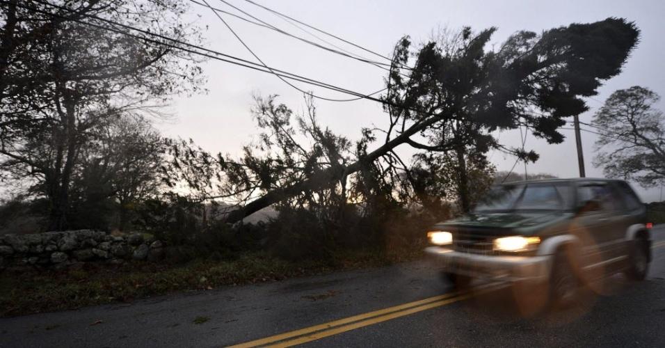 30.out.2012 - Carro circula por área onde árvores caíram e prejudicaram a rede elétrica, em área de Darmouth, em Massachusetts, prejudicada pela passagem do furacão Sandy nos EUA