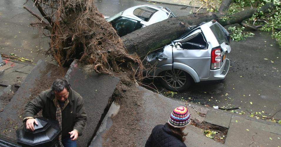 30.out.2012 - Carro destruído por queda de árvore no bairro do Brooklyn, em Nova York. A passagem do furacão Sandy pela cidade, na segunda-feira (29), deixou um rastro de destruição e pelo menos 10 mortes