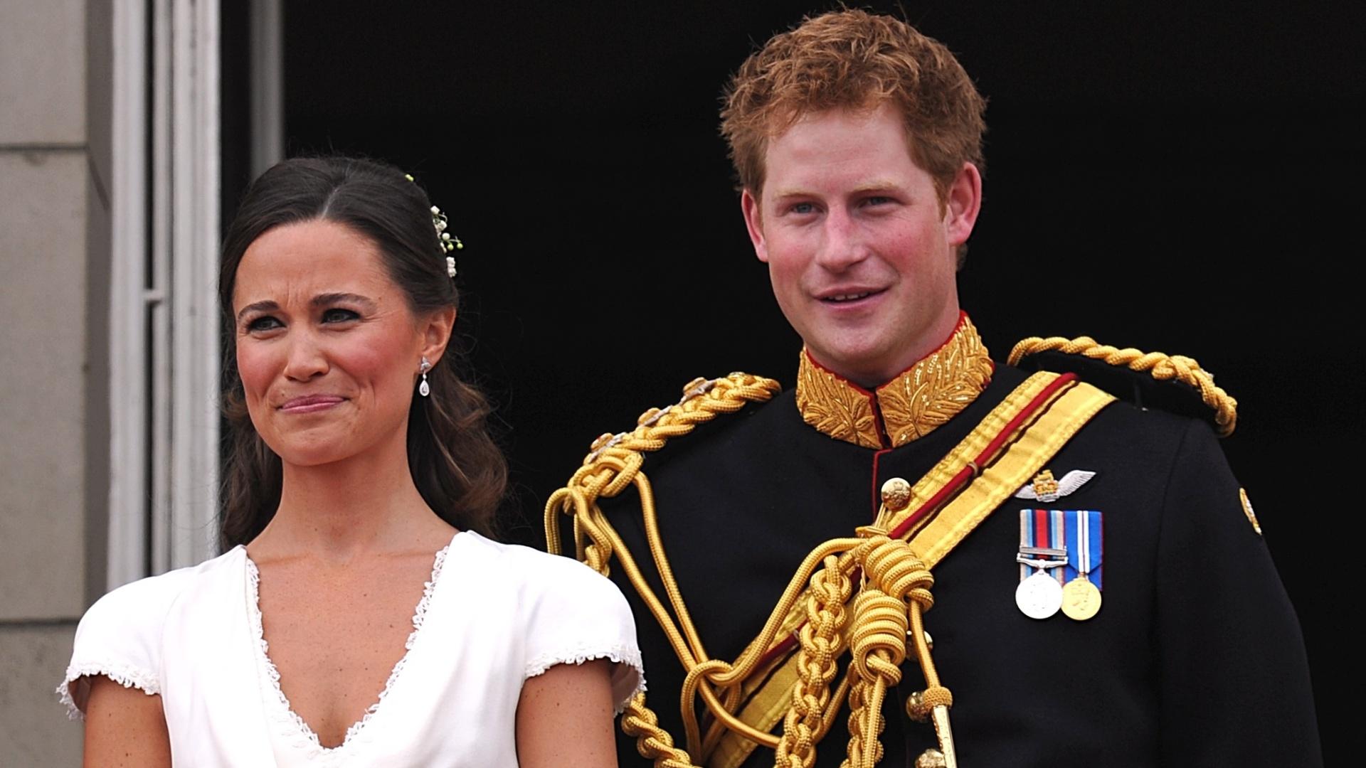 Pippa Middleton e Príncipe Harry no casamento do Príncipe William e da duquesa Kate Middleton