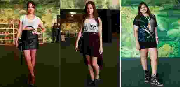 """Top """"cropped"""", saia mullet e sneaker no visual de frequentadoras do SPFW - Alisson Louback/UOL"""