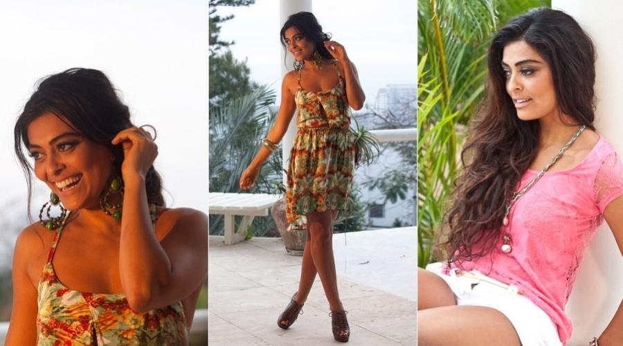 Juliana Paes fotografou para o catálogo de sua linha de roupas em uma casa no Joá, zona oeste do Rio (1/11/12).