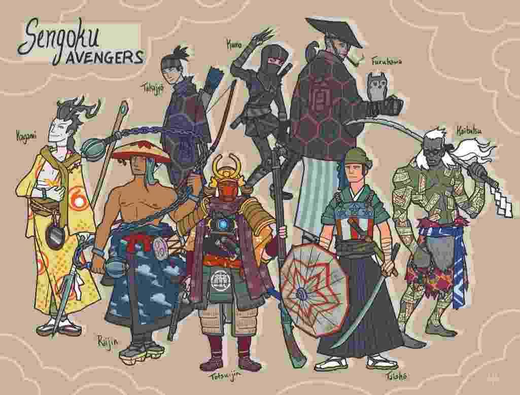 """O ilustrador americano Alex Mitchell criou uma série em que reimagina os personagens de """"Os Vingadores"""" e """"X-Men"""" como heróis japoneses. Na imagem, os heróis de """"Os Vingadores"""" - DeviantArt/Genesischant"""