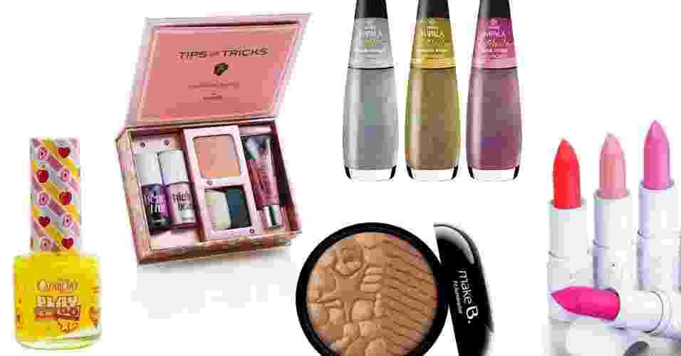 Beleza: lançamentos de outubro 001 maquiagem e esmalte - Divulgação/Montagem UOL