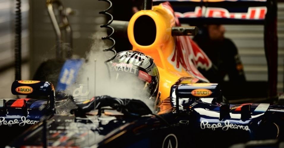 Sebastian Vettel recebe dose de ar gelado durante treinos livres para o GP dos Emirados Árabes