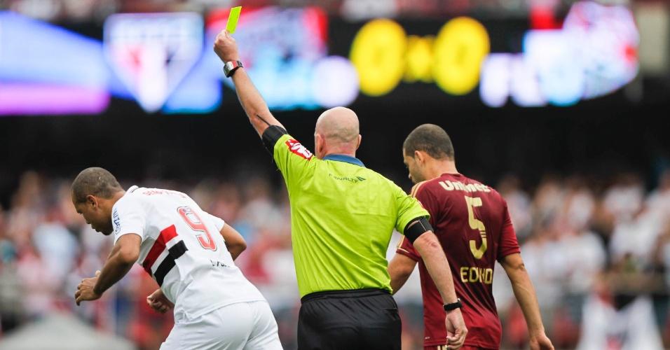 Luis Fabiano recebe cartão amarelo na partida contra o Fluminense no Morumbi