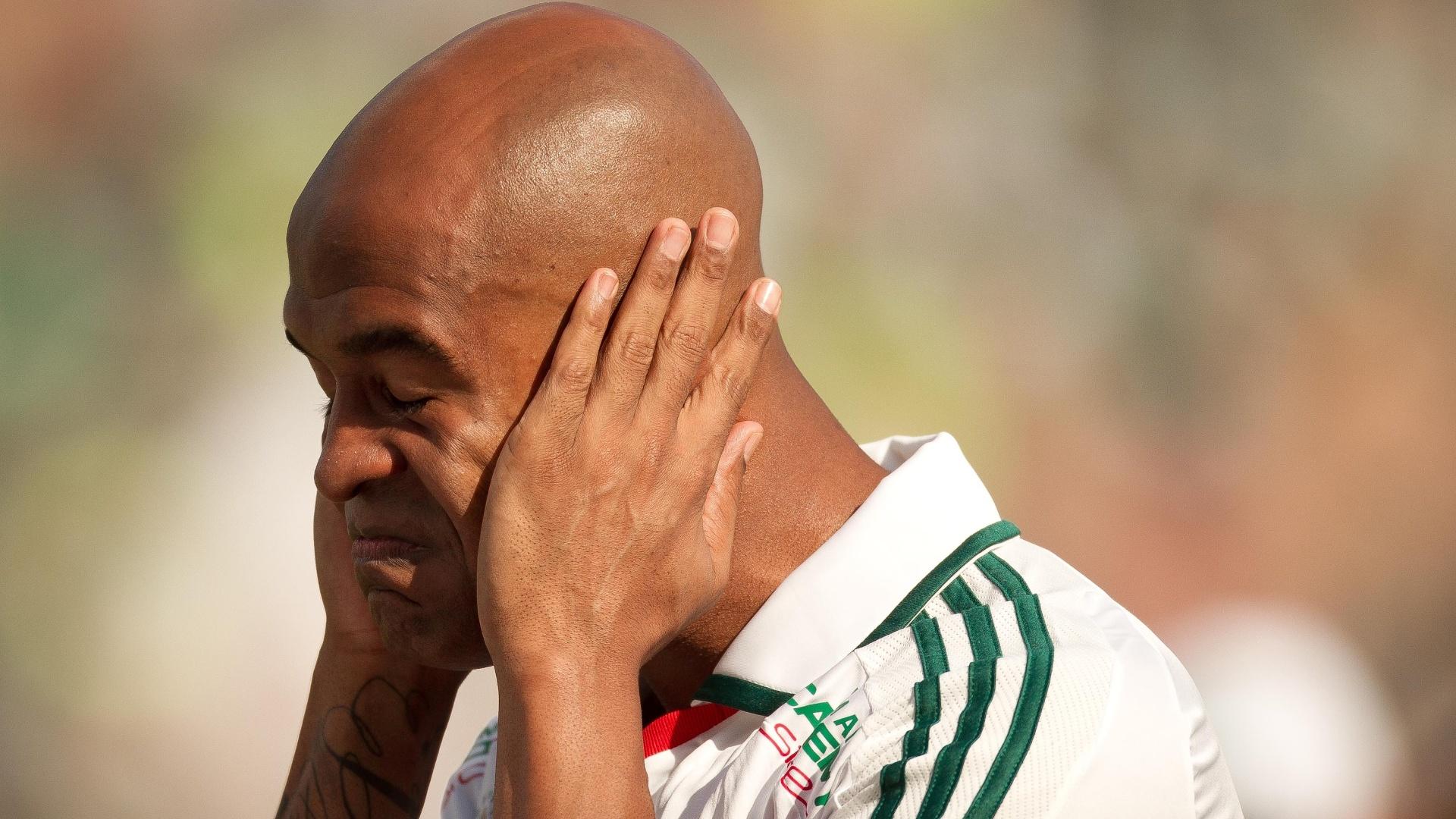 Marcos Assunção lamenta durante a partida entre Palmeiras e Botafogo em Araraquara