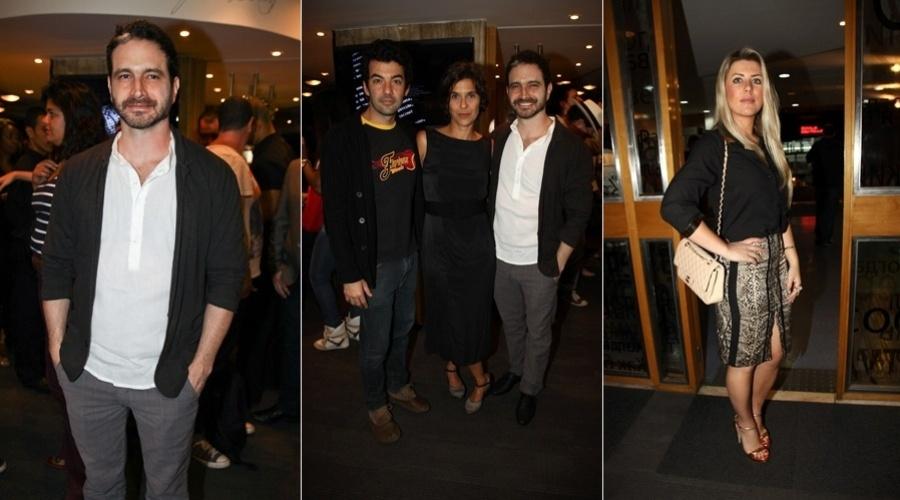Caco Ciocler se reuniu com o ator Gustavo Machado e com a cineasta Juliana Reis (de preto) para a pré-estreia do filme
