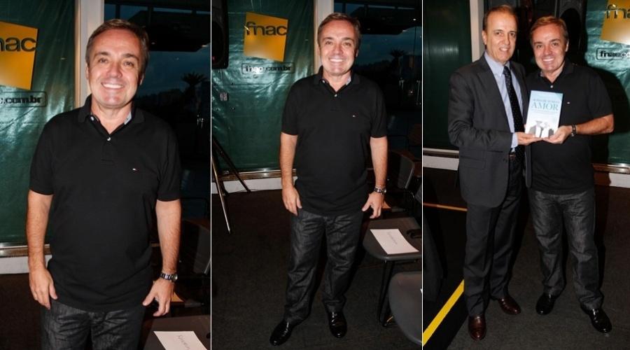 O apresentador Gugu Liberato prestigiou a noite de autógrafos do livro