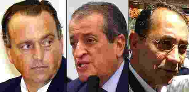 Os deputados federais Pedro Henry (PP-MT), Valdemar Costa Neto (PR-SP) e João Paulo Cunha (PT-SP), condenados no julgamento do mensalão no STF - Alan Marques/Folhapress; Leonardo Prado/Agência Câmara e Renato Silvestre/AE