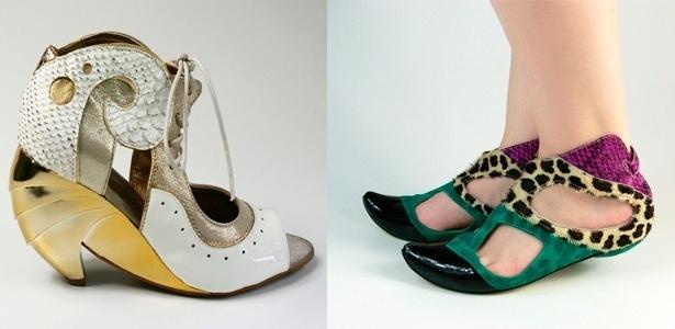 """Devido seu design """"conceitual"""", os sapatos da Louloux conquistaram fãs por todo país. Eles são feitos com material excedente de produção de diversas industrias e há apenas cerca de 34 pares por modelo. O da esquerda custa R$ 269 e o da direita R$ 169 - Divulgação"""