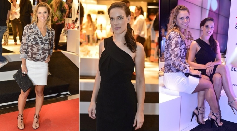 """Carolina Dieckmann e Adriana Birolli prestigiaram o lançamento de uma coleção de calçados femininos em Ipanema, zona sul do Rio (6/11/12), Carolina está no ar em """"Salve Jorge"""""""