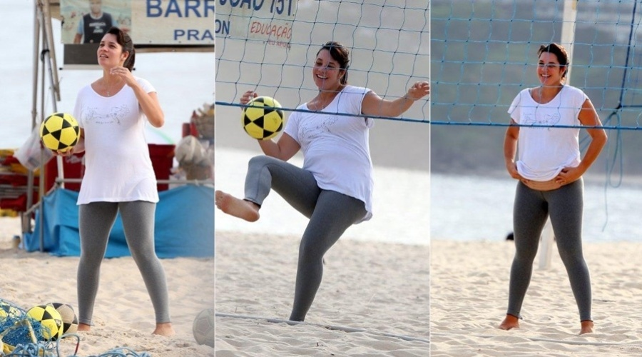 Grávida de cinco meses de um menino, Amadha Lee futevôlei na praia do Leblon, zona sul do Rio (6/11/12). A atriz é casada com o ex-jogador de vôle Nalbert. O casal já é pai de Rafaela