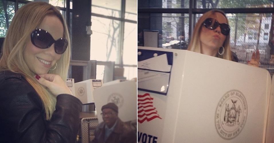 """Mariah Carey posta foto votando na eleição presidencial americana. """"Deixe o seu voto ser ouvido. Mais quatro anos"""", escreveu a cantora, mostrando-se favorável à reeleição do atual presidente, Barack Obama (6/11/12)"""