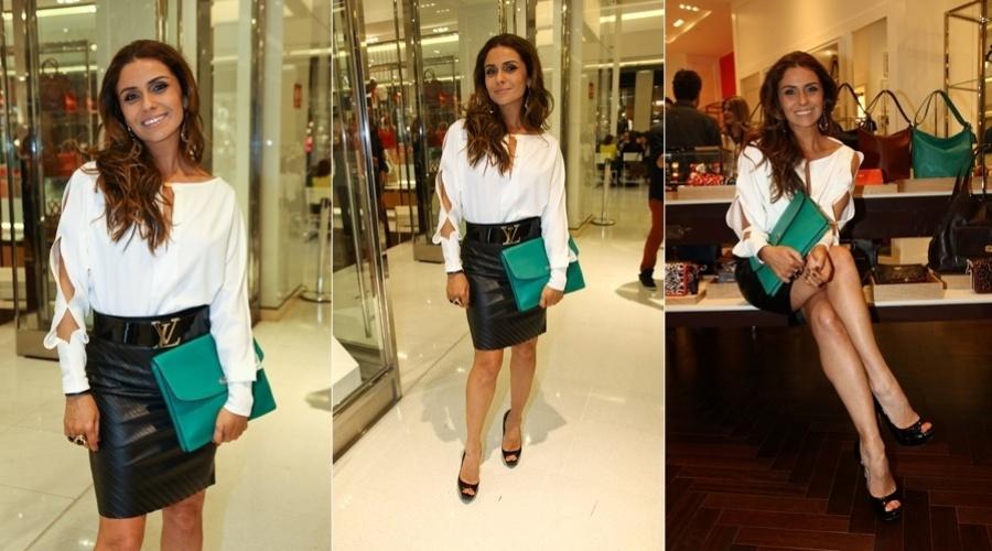 """No ar em """"Salve Jorge"""", Giovanna Antonelli prestigiou o lançamento de uma coleção de bolsas em São Paulo (6/11/12)"""