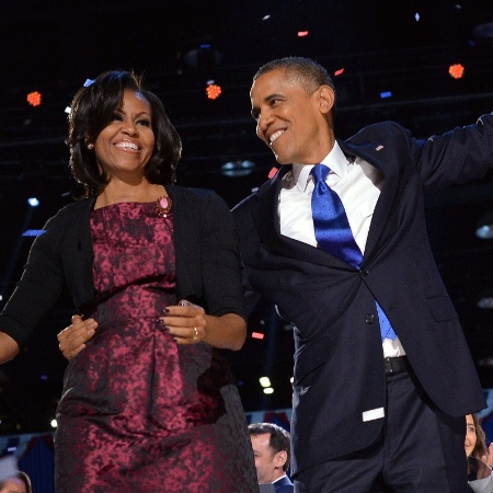 Michele Obama aparece ao lado de Barack Obama quando ele era presidente - Jewel Samad/AFP Photo