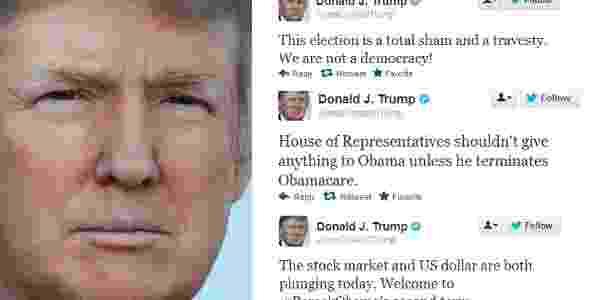 Há quatro anos, no Twitter, Trump já pedia que Câmara dos Deputados não desse nada para Obama, a menos que ele encerrasse o Obamacare - Reprodução