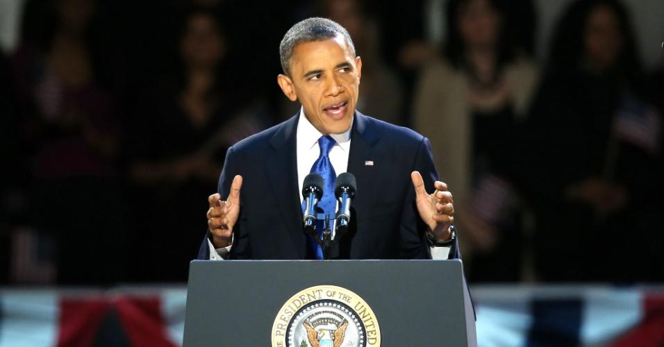 7.nov.2012 - Presidente reeleito Barack Obama realiza seu discurso da vitória no McCormick Place, em Chicago, Illinois, berço político do democrata