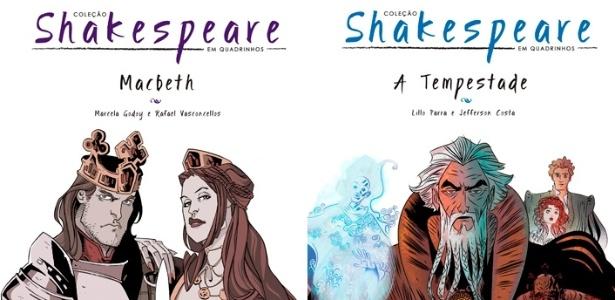 """As obras """"Macbeth"""" e """"A Tempestade"""", adaptação da editora Nemo - Fotomontagem/Divulgação"""