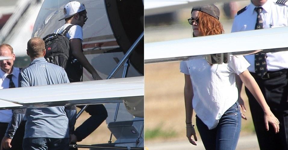 Robert Pattinson e Kristen Stewart são vistos em avião particular em Van Nuys, em Los Angeles, na Califórnia (6/11/12)