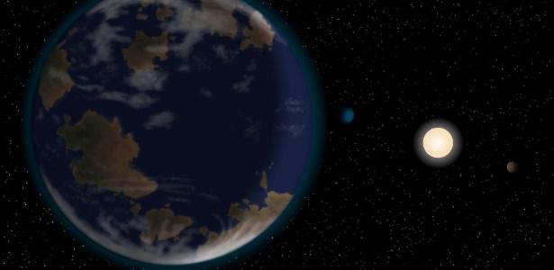 O planeta HD40307g (à esquerda) fica a uma distância ideal da estrela-mãe HD40307 para ter água em estado líquido na superfície