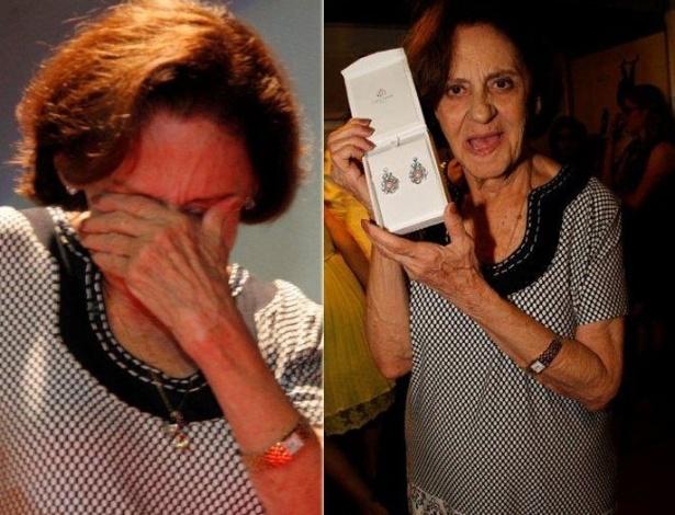 A atriz Laura Cardoso se emociona ao receber joia em homenagem durante o festival de Vitória, no Espírito Santo (8/11/12)