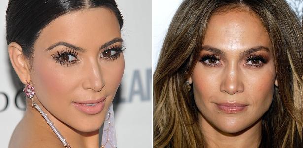 Adeptas da moda, Kim Kardashian e Jennifer Lopez exibem os cílios grudadinhos em tapetes vermelhos - Getty Images
