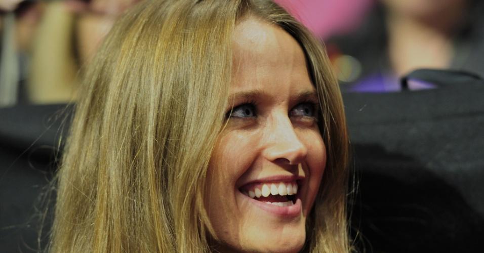 08.nov.2012 - Kim Sears, namorada de Andy Murray, durante jogo do tenista contra Novak Djokovic no ATP Finals