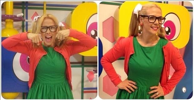 Carla Perez se fantasia de Chiquinha, do ?Chaves?, para apresentar programa infantil (9/11/2012)