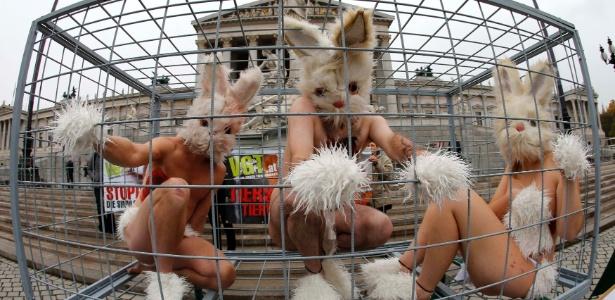12.nov.2012 - Ativistas de direitos dos animais protestam dentro de uma gaiola vestidos de coelhos, em Viena na Áustria. Eles exigem o fim dos testes de produtos químicos em animais - Leonhard Foeger/Reuters
