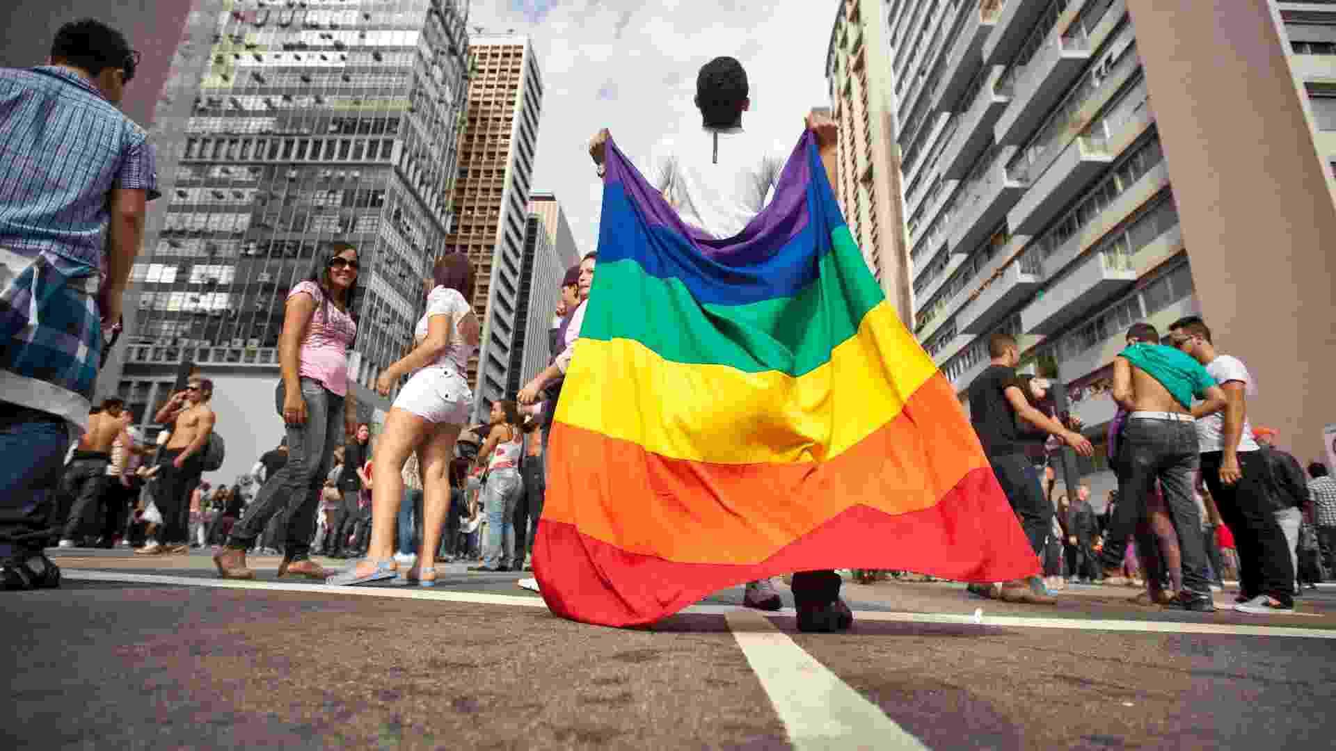 Imagem da 16ª Parada Gay, realizada no dia 10 de junho de 2012. Em 2011, apenas 14,0% (383) dos órgãos gestores de políticas de direitos humanos declararam ter programas para lésbicas, gays, bissexuais, travestis e transexuais  - Simon Plestenjak/Folhapress